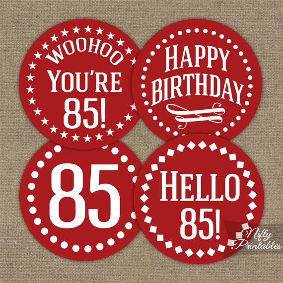 85th Birthday Cupcake Toppers Red White
