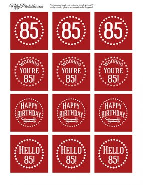 85th Birthday Cupcake Toppers - Red White
