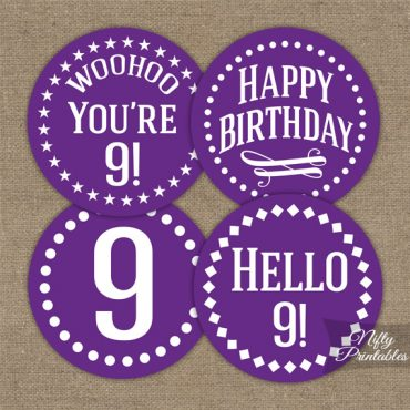 9th Birthday Cupcake Toppers - Purple White Impact