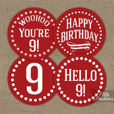9th Birthday Cupcake Toppers - Red White