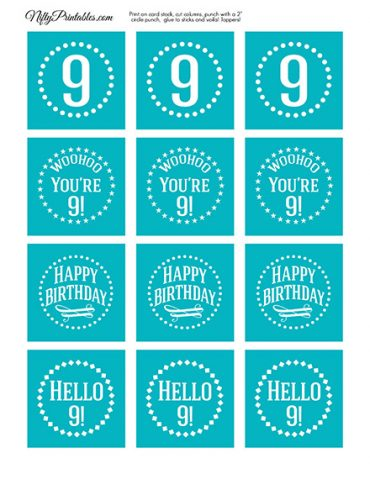 9th Birthday Cupcake Toppers - Turquoise