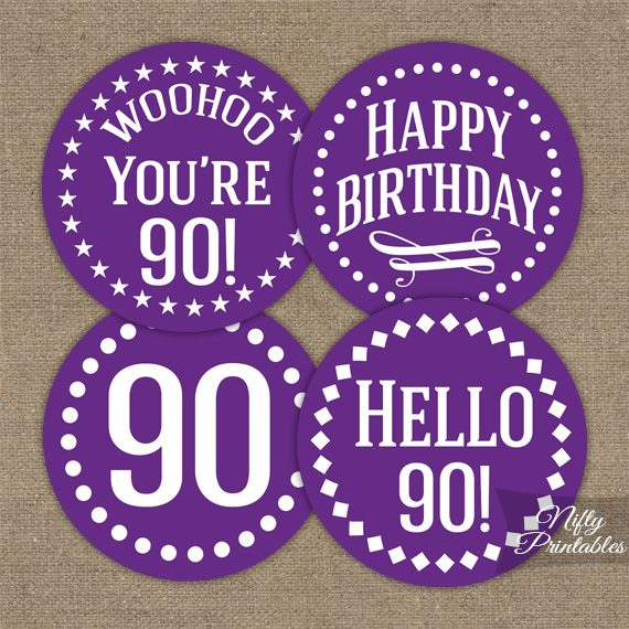 90th Birthday Cupcake Toppers - Purple