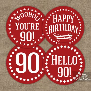90th Birthday Cupcake Toppers - Red White Impact