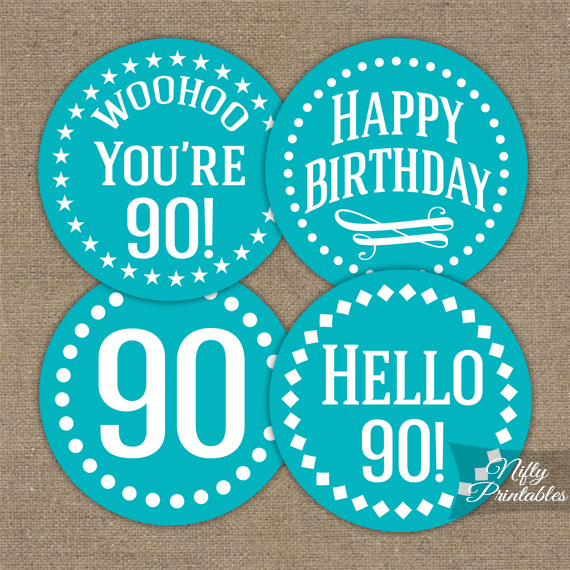 90th Birthday Cupcake Toppers - Turquoise