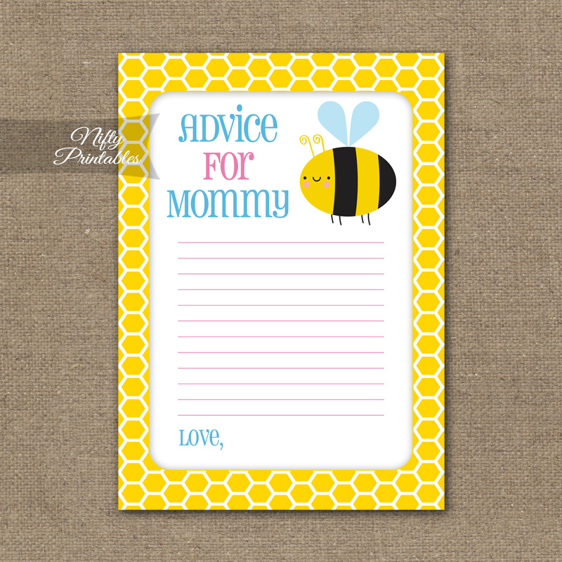 Advice For Mommy Baby Shower Game - Bumble Bee