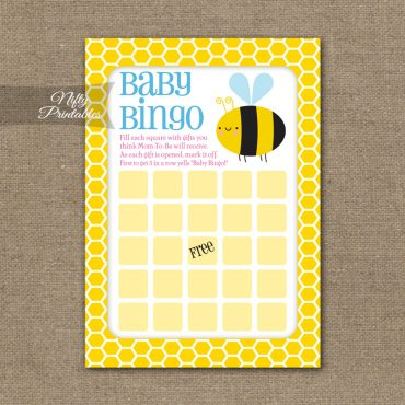 Baby Shower Bingo Game - Bumble Bee