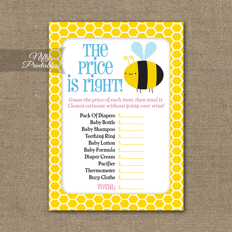 Price Is Right Baby Shower Game - Bumble Bee