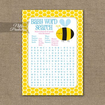 Baby Shower Word Search Game - Bumble Bee