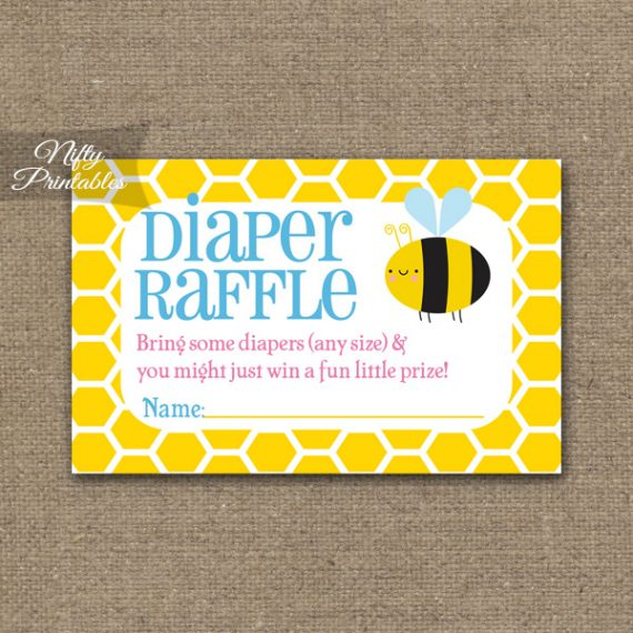 Diaper Raffle Baby Shower - Bumble Bee