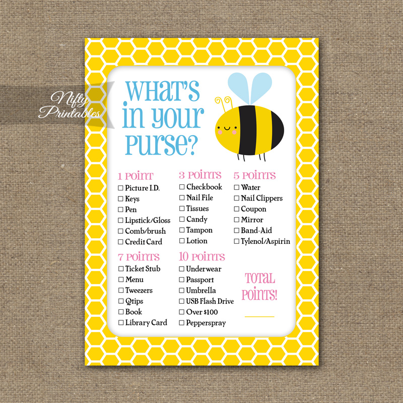 What's In Your Purse Game - Bumble Bee