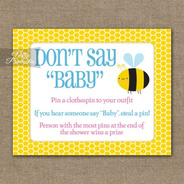 Don't Say Baby Shower Game - Bumble Bee