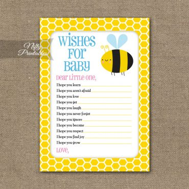 Wishes For Baby Shower Game - Bumble Bee