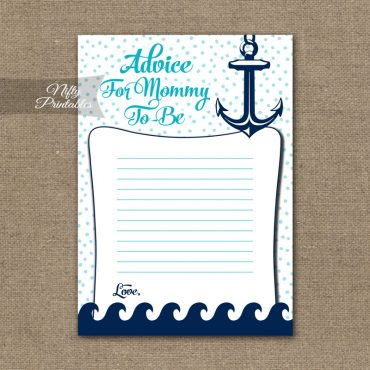 Advice For Mommy Baby Shower Game - Aqua Nautical
