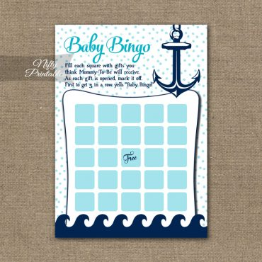 Baby Shower Bingo Game - Aqua Nautical