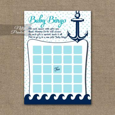 Baby Shower Bingo Game - Aqua Nautical