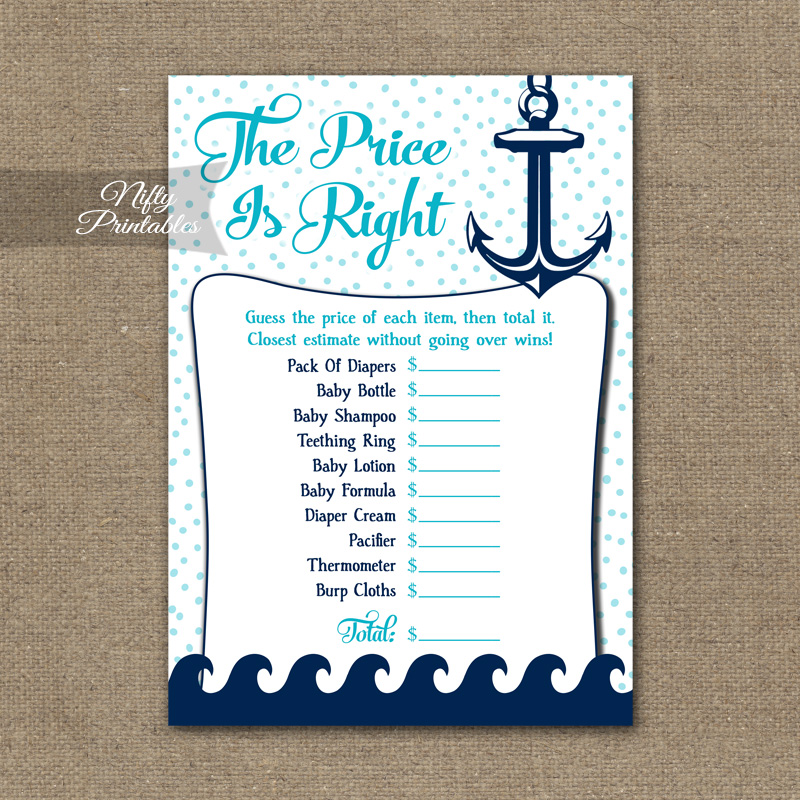 image about Baby Shower Price is Right Printable titled Price tag Is Straight Child Shower Sport - Aqua Nautical