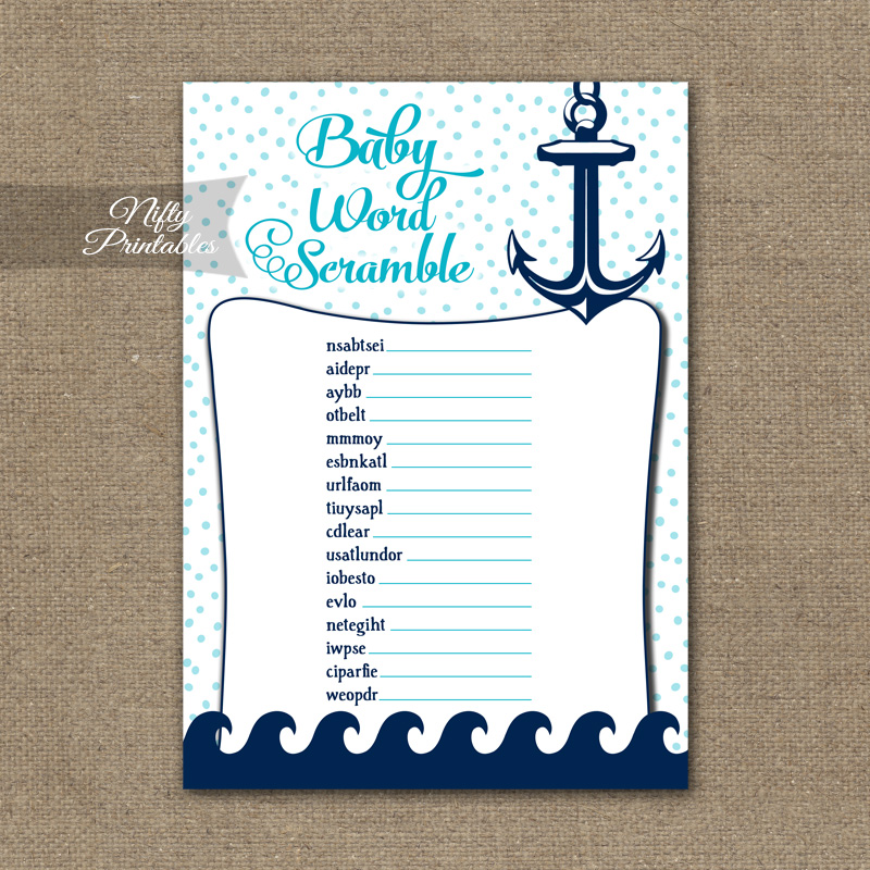 Baby Shower Word Scramble Game - Aqua Nautical