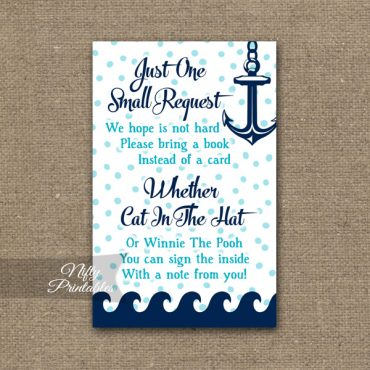 Bring A Book Baby Shower Insert - Aqua Nautical