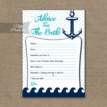 Bridal Shower Advice Cards - Aqua Nautical
