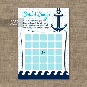Bridal Shower Bingo Game - Aqua Nautical