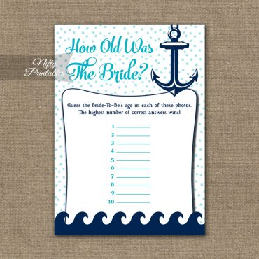 How Old Is The Bride Shower Game - Aqua Nautical