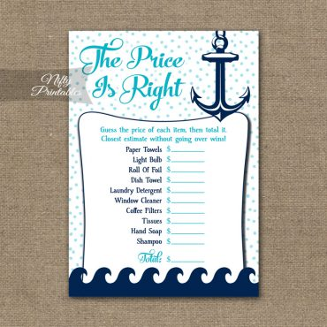Price Is Right Bridal Shower Game - Aqua Nautical