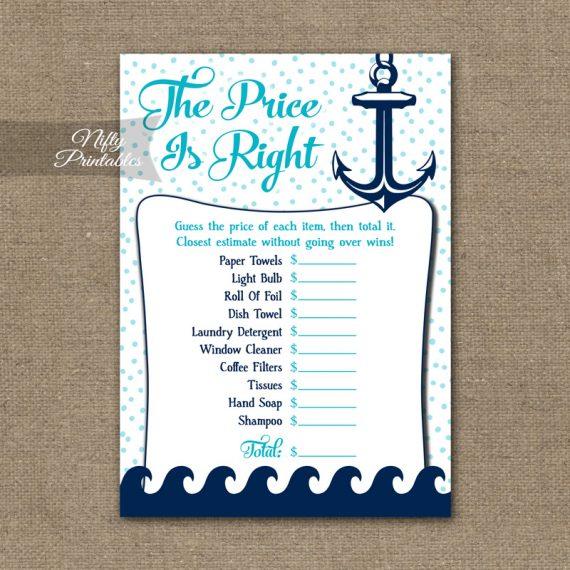 Price Is Right Bridal Shower Game - Aqua Nautical