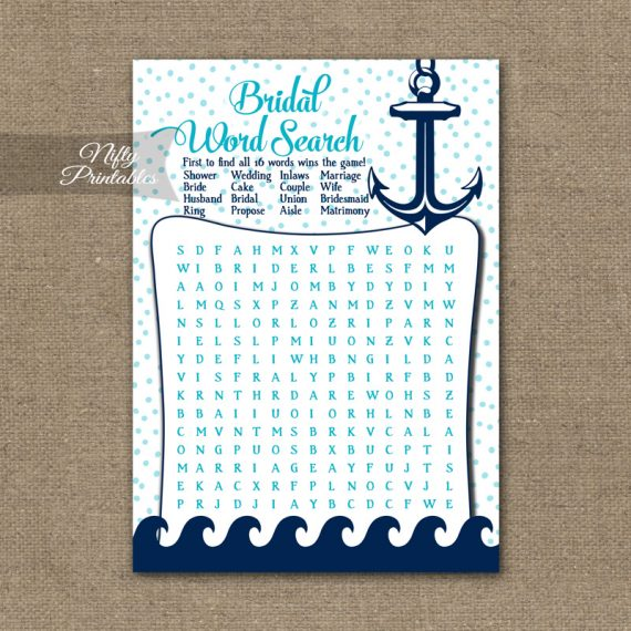 Bridal Shower Word Search Game - Aqua Nautical