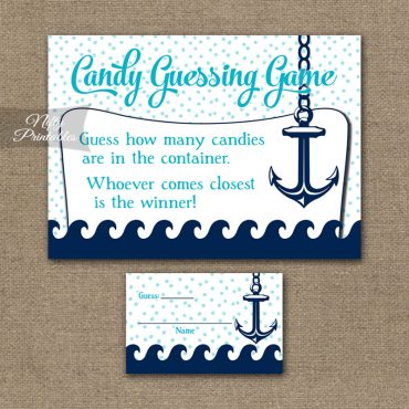 Candy Guessing Game - Aqua Nautical