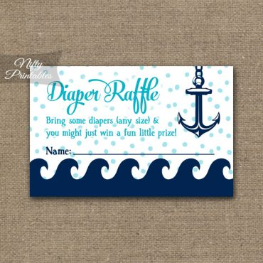 Diaper Raffle Baby Shower - Aqua Nautical