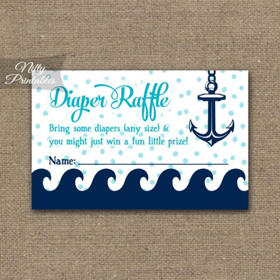 Diaper Raffle Baby Shower - Aqua Nautical