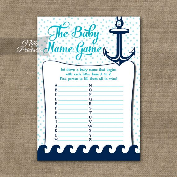 Name Game Baby Shower - Aqua Nautical