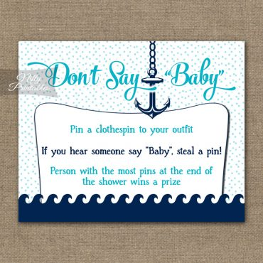 Don't Say Baby Shower Game - Aqua Nautical