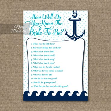 How Well Do You Know The Bride - Aqua Nautical