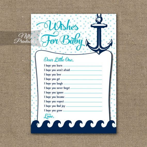 Wishes For Baby Shower Game - Aqua Nautical