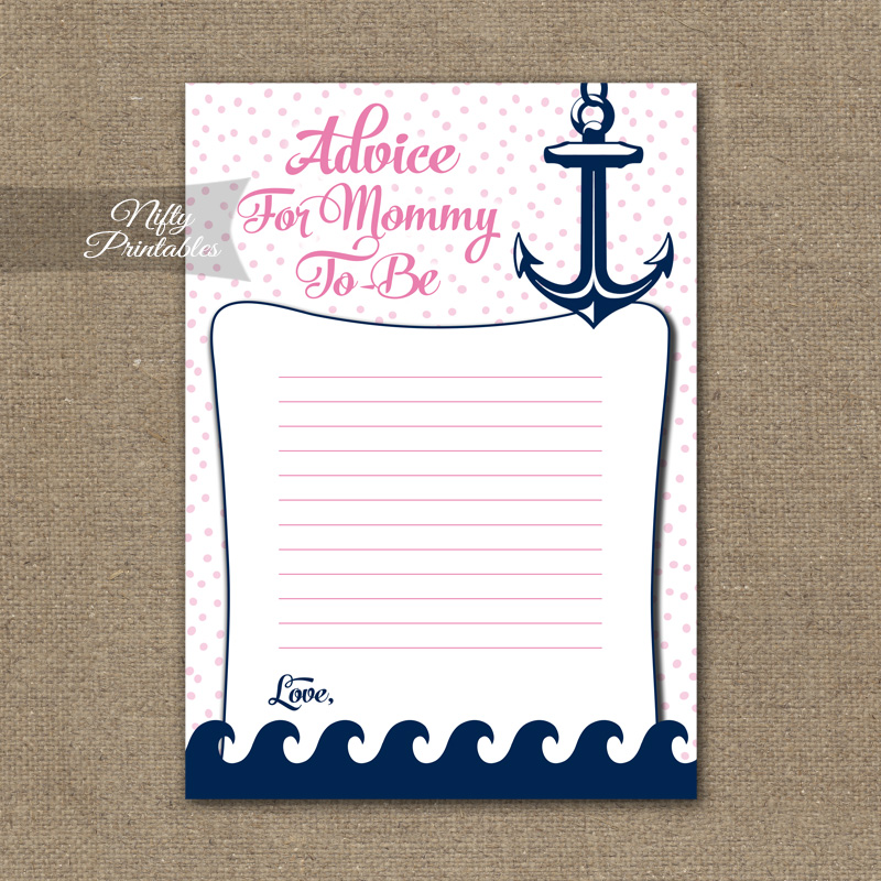 Advice For Mommy Baby Shower Game - Pink Nautical