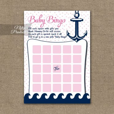 Baby Shower Bingo Game - Pink Nautical