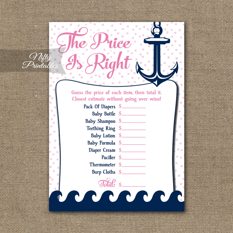 Price Is Right Baby Shower Game - Pink Nautical