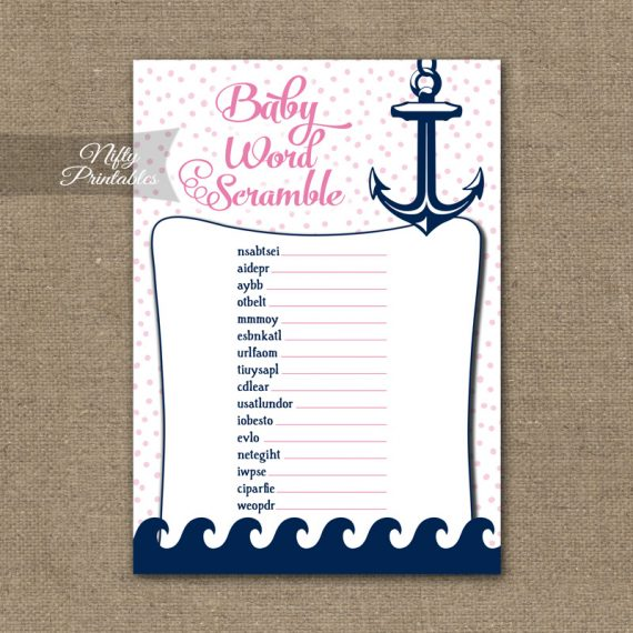 Baby Shower Word Scramble Game - Pink Nautical