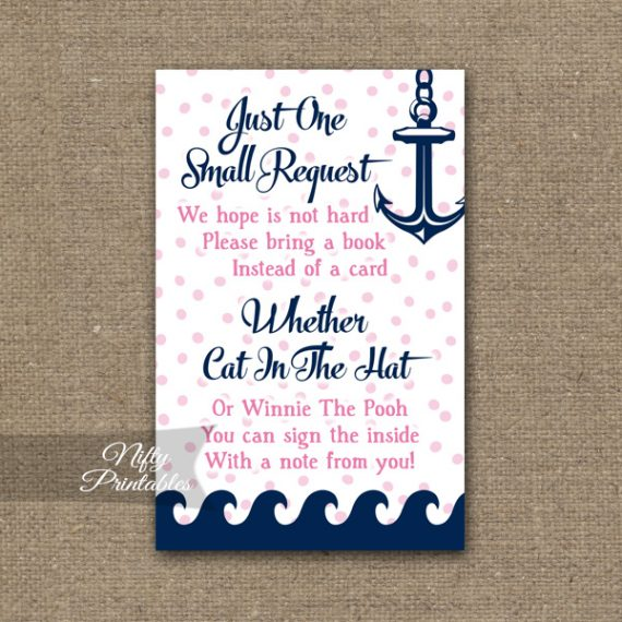 Bring A Book Baby Shower Insert - Pink Nautical