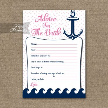 Bridal Shower Advice Cards - Pink Nautical
