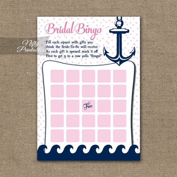 Bridal Shower Bingo Game - Pink Nautical