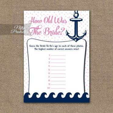 How Old Is The Bride Shower Game - Pink Nautical