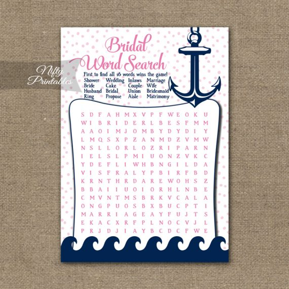 Bridal Shower Word Search Game - Pink Nautical