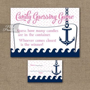 Candy Guessing Game - Pink Nautical