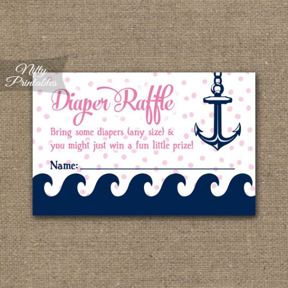 Diaper Raffle Baby Shower - Pink Nautical