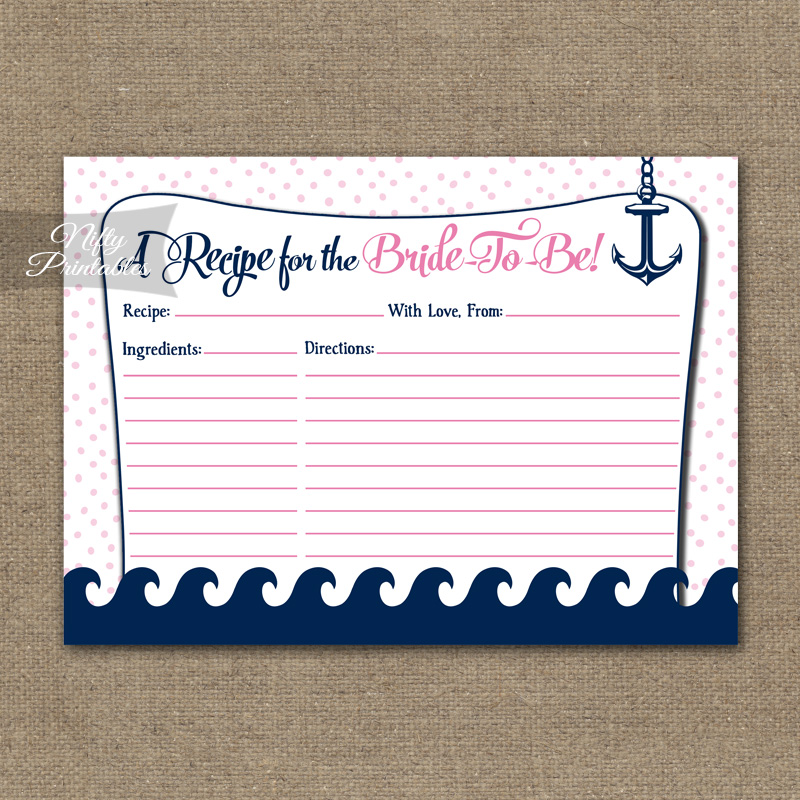 Bridal Shower Recipe Cards - Pink Nautical