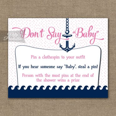 Don't Say Baby Shower Game - Pink Nautical