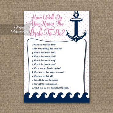 How Well Do You Know The Bride - Pink Nautical