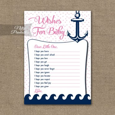 Wishes For Baby Shower Game - Pink Nautical